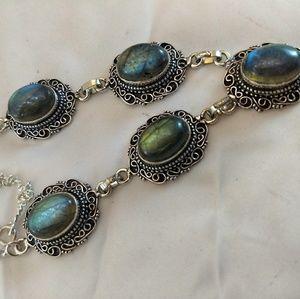 Jewelry - Beautiful fiery labradorite silver necklace